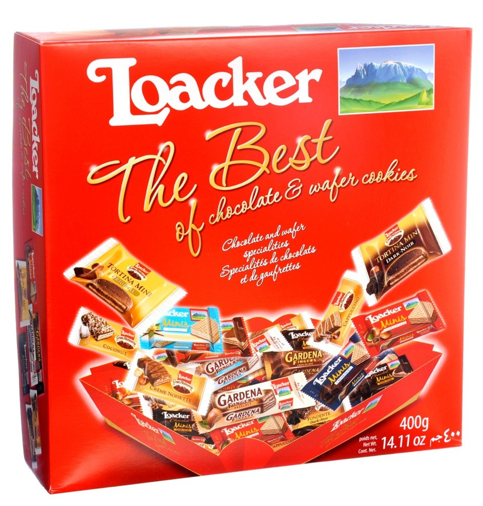 LOACKER THE BEST OF CHOCOLATE WAFER COOKIES- 400 G